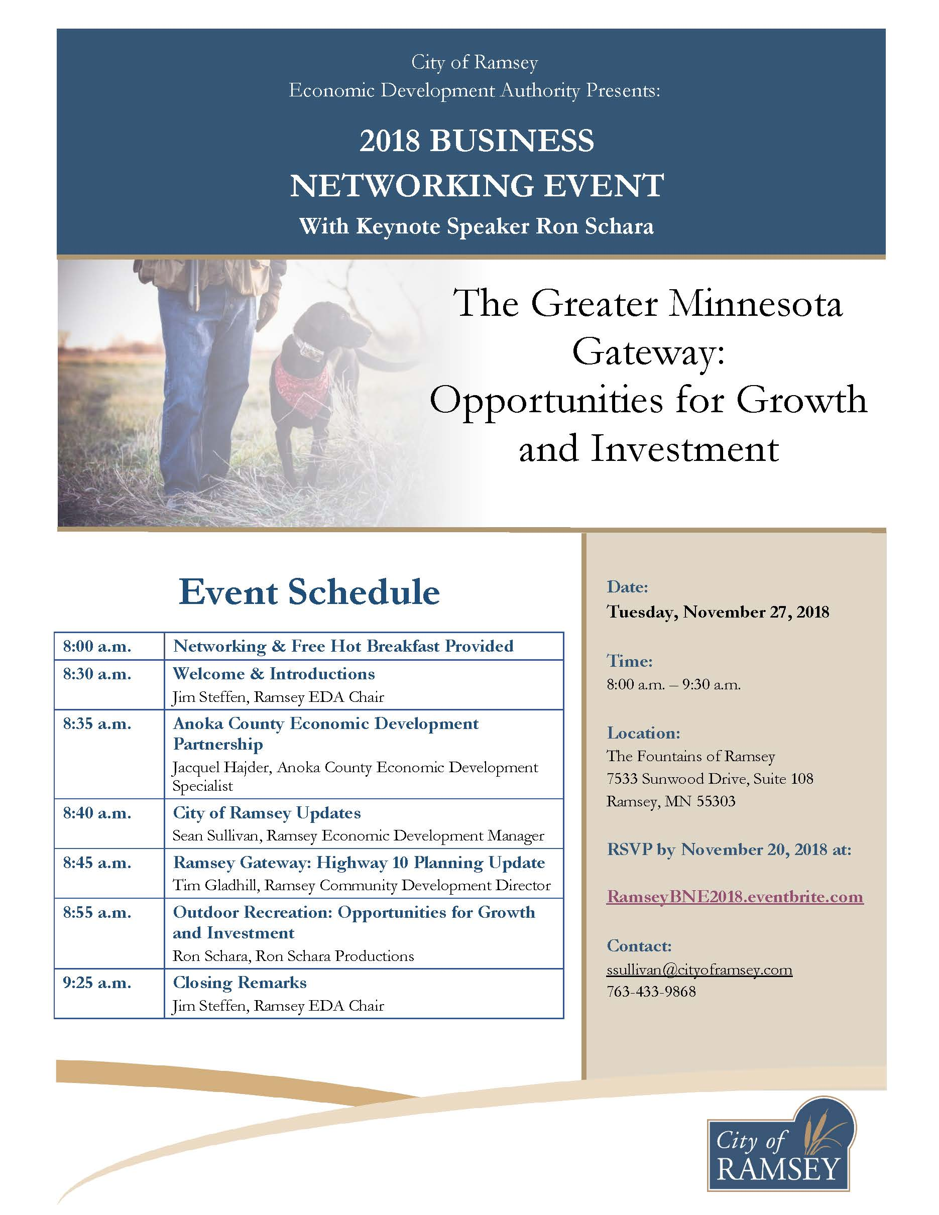 2018 EDA Business Networking Event Flyer and Program